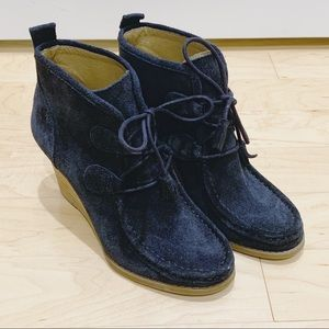 Lucky Brand Navy Blue Suede Moccasin Wedge Booties